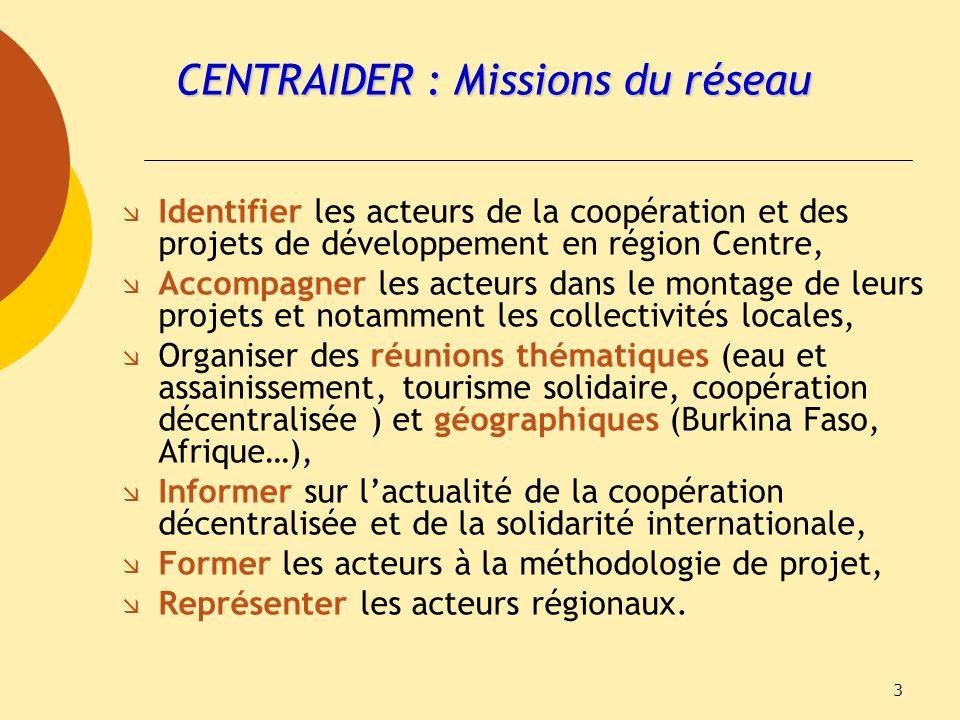 3 CENTRAIDER : Missions du réseau Identifier les acteurs de la coopération et des projets de développement en région Centre, Accompagner les acteurs d