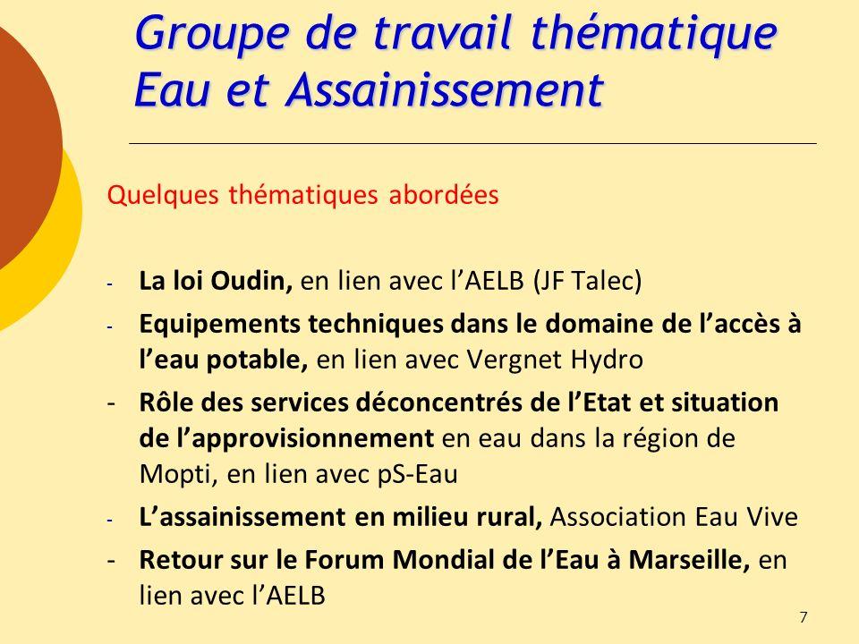 Groupe de travail thématique Eau et Assainissement Quelques thématiques abordées - La loi Oudin, en lien avec lAELB (JF Talec) - Equipements technique