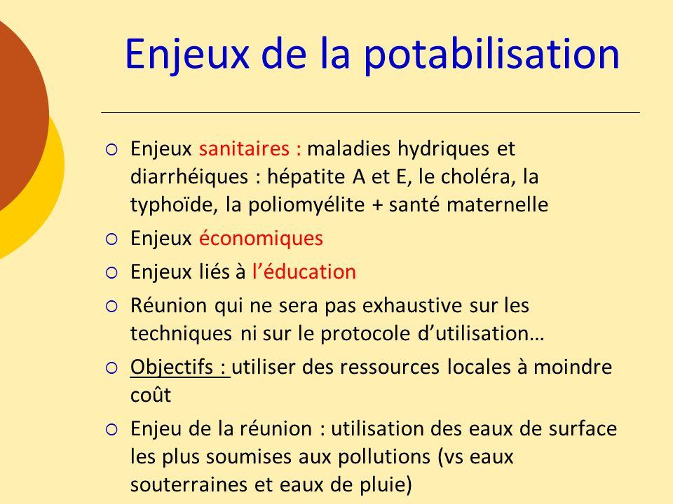 Enjeux de la potabilisation Enjeux sanitaires : maladies hydriques et diarrhéiques : hépatite A et E, le choléra, la typhoïde, la poliomyélite + santé