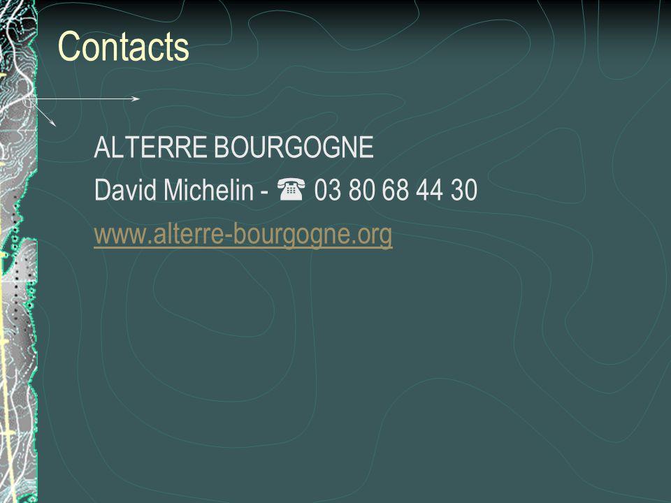Contacts ALTERRE BOURGOGNE David Michelin - 03 80 68 44 30 www.alterre-bourgogne.org