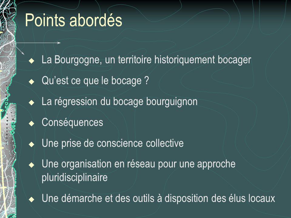 Points abordés La Bourgogne, un territoire historiquement bocager Quest ce que le bocage ? La régression du bocage bourguignon Conséquences Une prise
