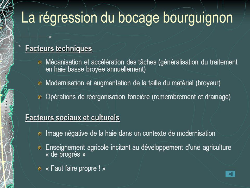La régression du bocage bourguignon Facteurs techniques Mécanisation et accélération des tâches (généralisation du traitement en haie basse broyée ann