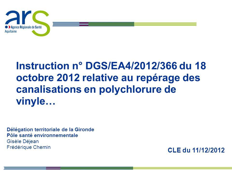 CLE du 11/12/2012 Délégation territoriale de la Gironde Pôle santé environnementale Gisèle Déjean Frédérique Chemin Instruction n° DGS/EA4/2012/366 du