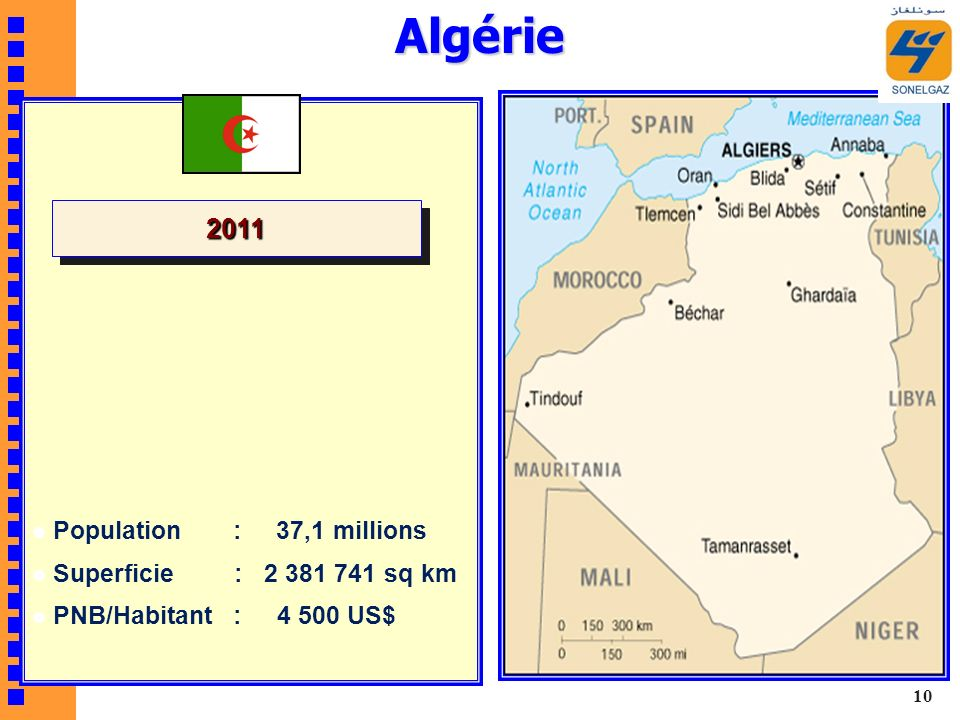 Algérie Population : 37,1 millions Superficie : 2 381 741 sq km PNB/Habitant : 4 500 US$ 20112011 10