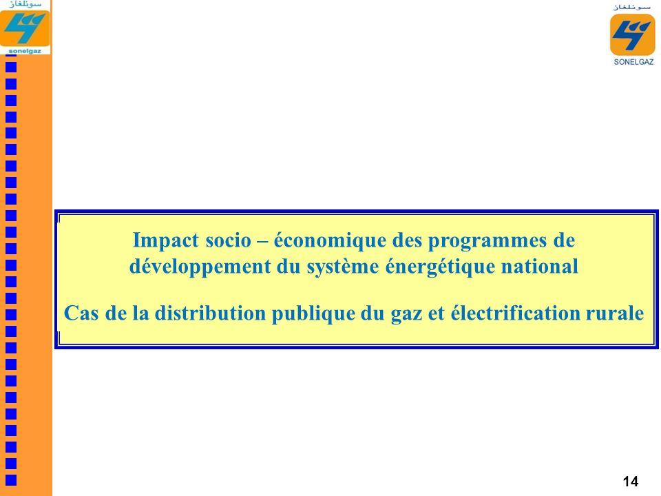 14 Impact socio – économique des programmes de développement du système énergétique national Cas de la distribution publique du gaz et électrification