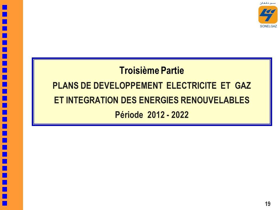 19 Troisième Partie PLANS DE DEVELOPPEMENT ELECTRICITE ET GAZ ET INTEGRATION DES ENERGIES RENOUVELABLES Période 2012 - 2022
