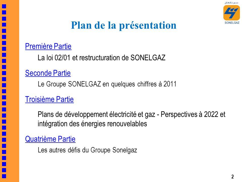 2 Première Partie La loi 02/01 et restructuration de SONELGAZ Seconde Partie Le Groupe SONELGAZ en quelques chiffres à 2011 Troisième Partie Plans de