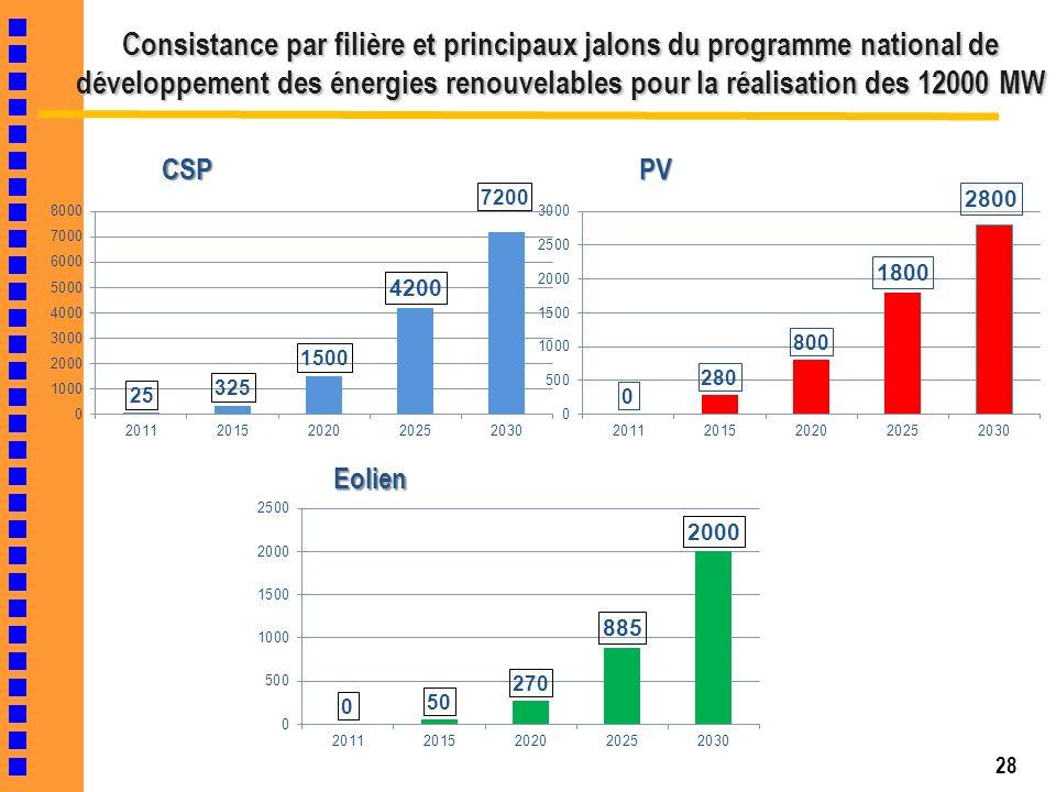 28 Consistance par filière et principaux jalons du programme national de développement des énergies renouvelables pour la réalisation des 12000 MW