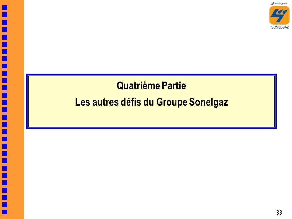 33 Quatrième Partie Les autres défis du Groupe Sonelgaz