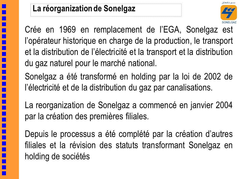 La réorganization de Sonelgaz Crée en 1969 en remplacement de lEGA, Sonelgaz est lopérateur historique en charge de la production, le transport et la