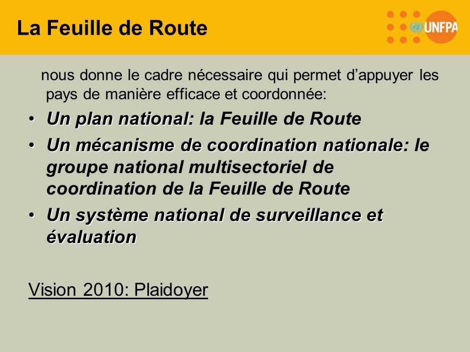 La Feuille de Route nous donne le cadre nécessaire qui permet dappuyer les pays de manière efficace et coordonnée: Un plan nationalUn plan national: l