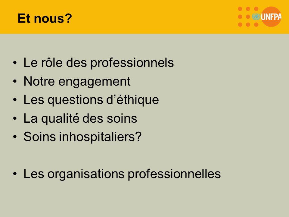 Et nous? Le rôle des professionnels Notre engagement Les questions déthique La qualité des soins Soins inhospitaliers? Les organisations professionnel