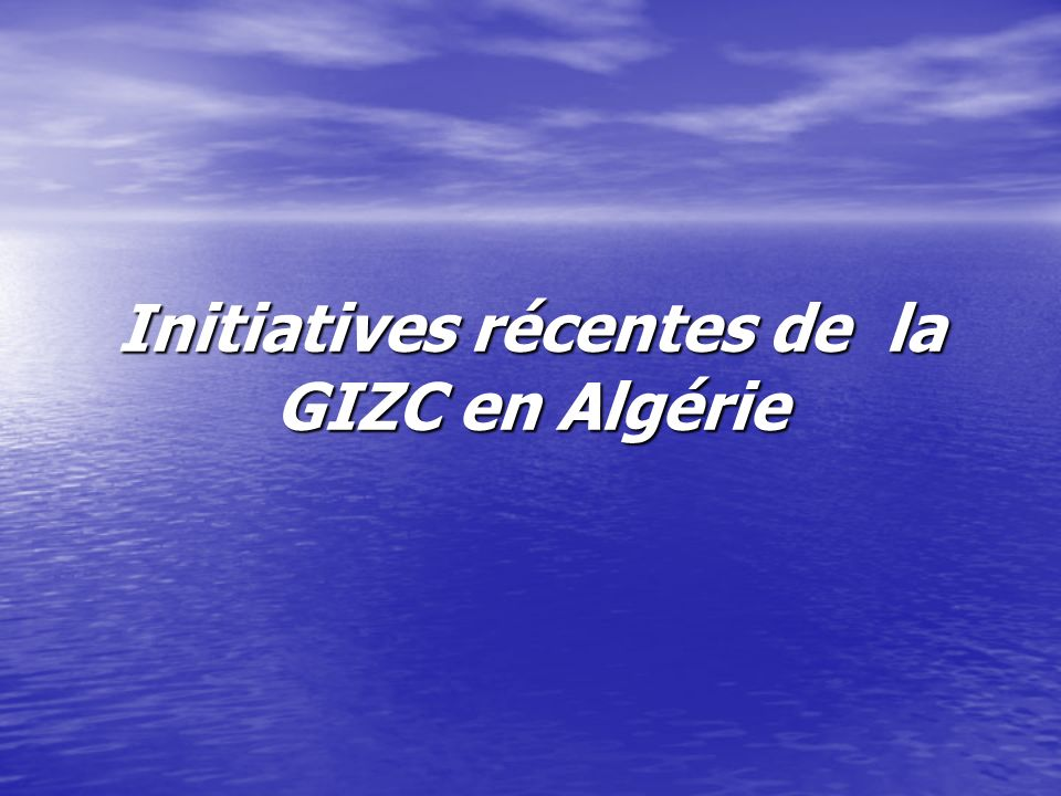 Le programme PAC et la GIZC Un programme daménagement côtier pour la zone côtière algéroise (Algérie) a été adopté pour la période 2001 – 2004.