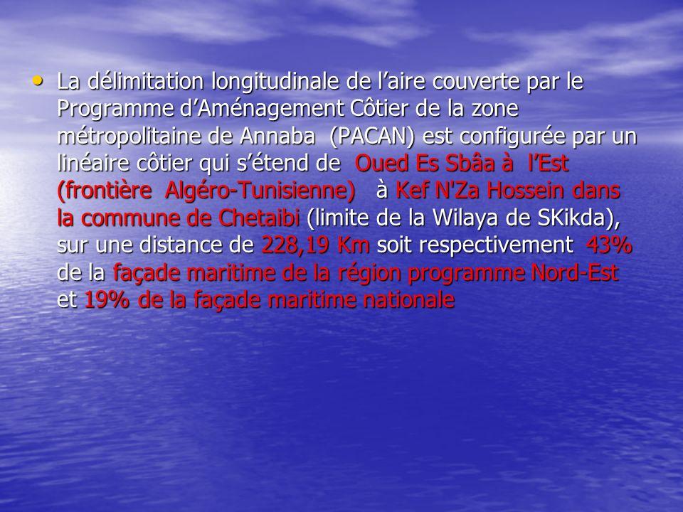 La délimitation longitudinale de laire couverte par le Programme dAménagement Côtier de la zone métropolitaine de Annaba (PACAN) est configurée par un