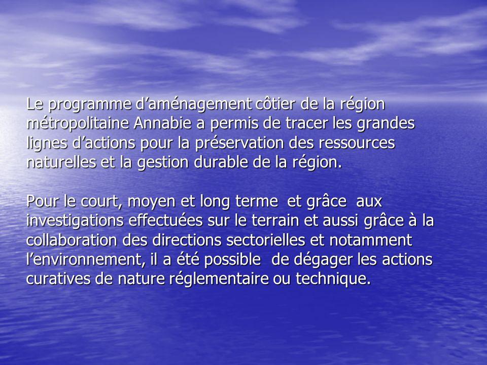 Le programme daménagement côtier de la région métropolitaine Annabie a permis de tracer les grandes lignes dactions pour la préservation des ressource