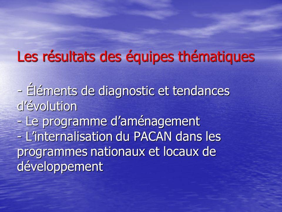 Les résultats des équipes thématiques - Éléments de diagnostic et tendances dévolution - Le programme daménagement - Linternalisation du PACAN dans le