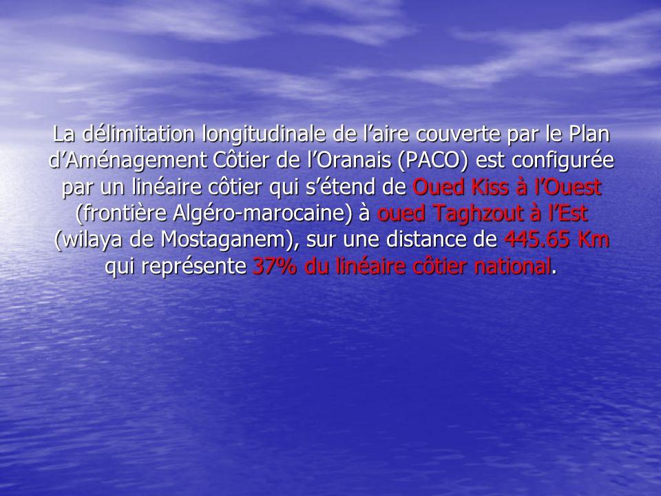 La délimitation longitudinale de laire couverte par le Plan dAménagement Côtier de lOranais (PACO) est configurée par un linéaire côtier qui sétend de