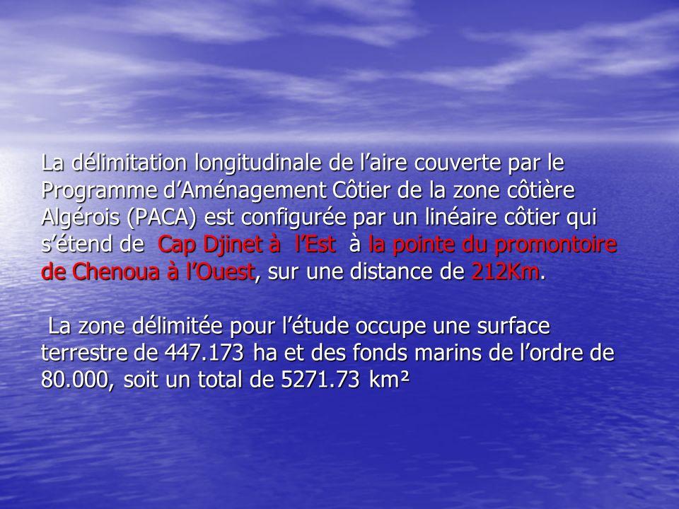 La délimitation longitudinale de laire couverte par le Programme dAménagement Côtier de la zone côtière Algérois (PACA) est configurée par un linéaire