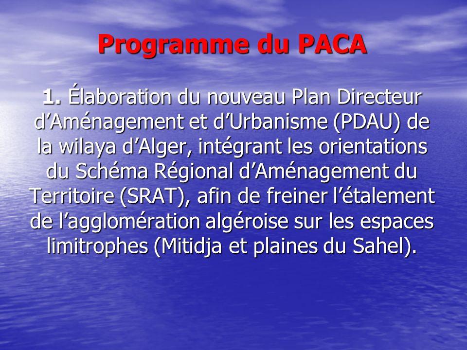 Programme du PACA 1. Élaboration du nouveau Plan Directeur dAménagement et dUrbanisme (PDAU) de la wilaya dAlger, intégrant les orientations du Schéma