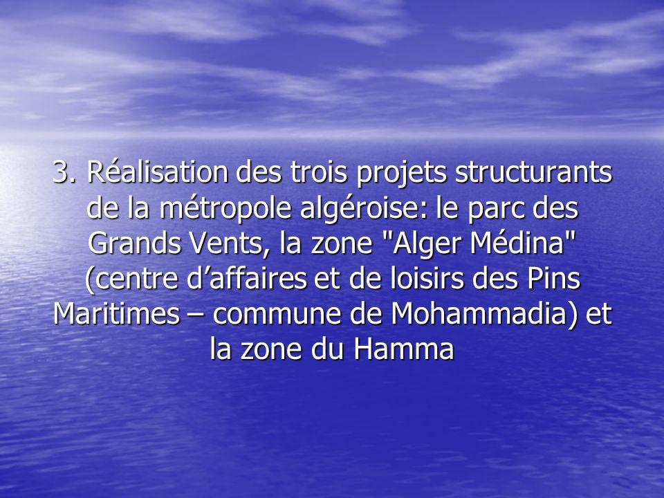 3. Réalisation des trois projets structurants de la métropole algéroise: le parc des Grands Vents, la zone
