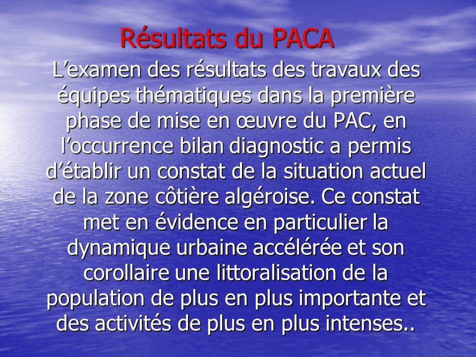 Résultats du PACA Lexamen des résultats des travaux des équipes thématiques dans la première phase de mise en œuvre du PAC, en loccurrence bilan diagn