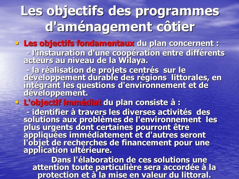 Les objectifs des programmes d'aménagement côtier Les objectifs fondamentaux du plan concernent : Les objectifs fondamentaux du plan concernent : - l'