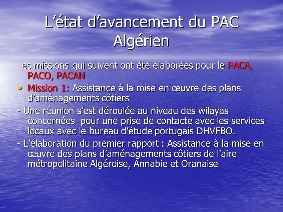 Létat davancement du PAC Algérien Les missions qui suivent ont été élaborées pour le PACA, PACO, PACAN Mission 1: Assistance à la mise en œuvre des pl