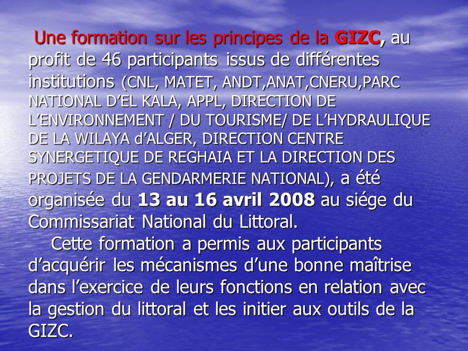 Une formation sur les principes de la GIZC, au profit de 46 participants issus de différentes institutions (CNL, MATET, ANDT,ANAT,CNERU,PARC NATIONAL