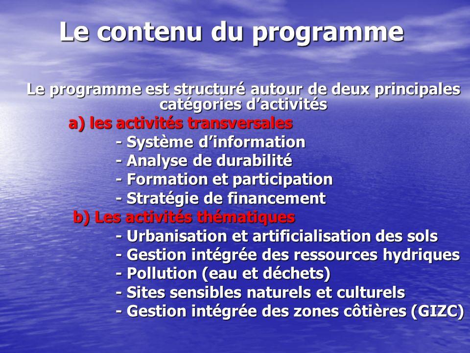 Le contenu du programme Le programme est structuré autour de deux principales catégories dactivités a) les activités transversales a) les activités tr