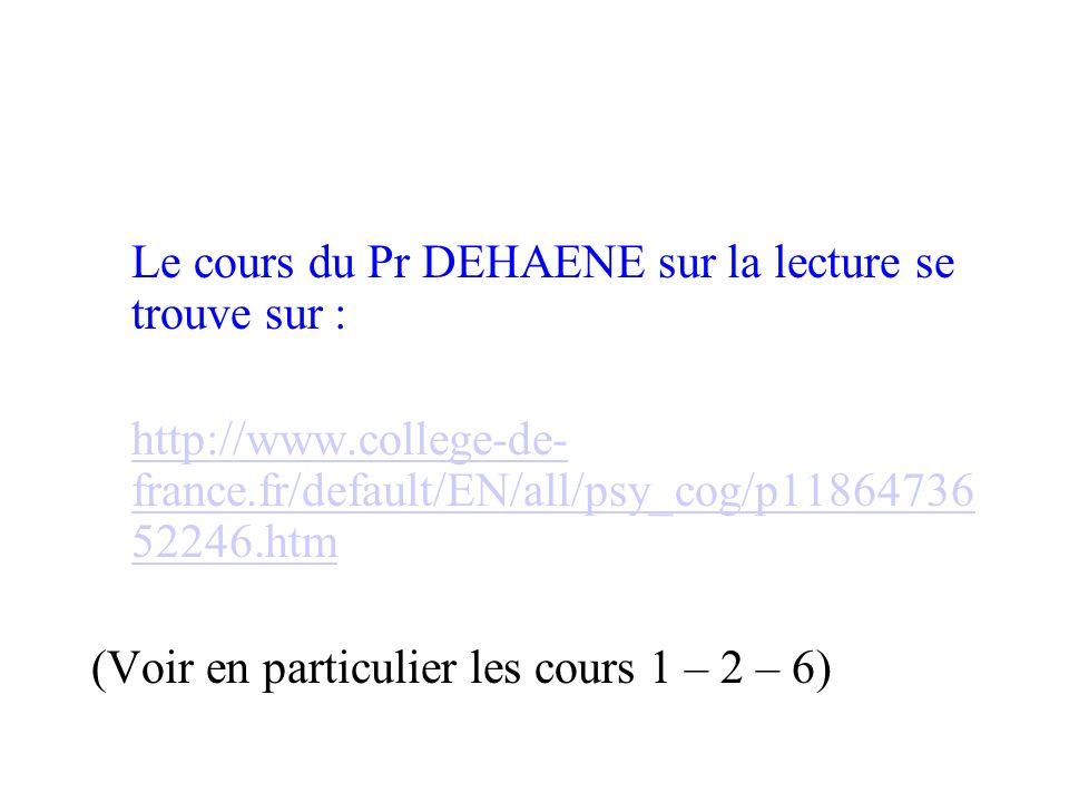 Le cours du Pr DEHAENE sur la lecture se trouve sur : http://www.college-de- france.fr/default/EN/all/psy_cog/p11864736 52246.htm (Voir en particulier