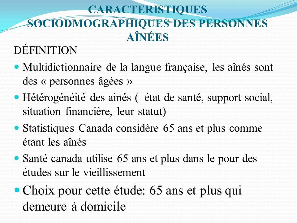 CARACTERISTIQUES SOCIODMOGRAPHIQUES DES PERSONNES AÎNÉES DÉFINITION Multidictionnaire de la langue française, les aînés sont des « personnes âgées » H