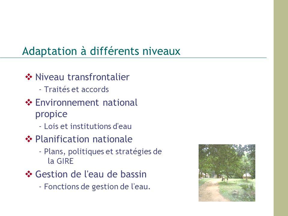 Adaptation à différents niveaux Niveau transfrontalier - Traités et accords Environnement national propice - Lois et institutions d'eau Planification