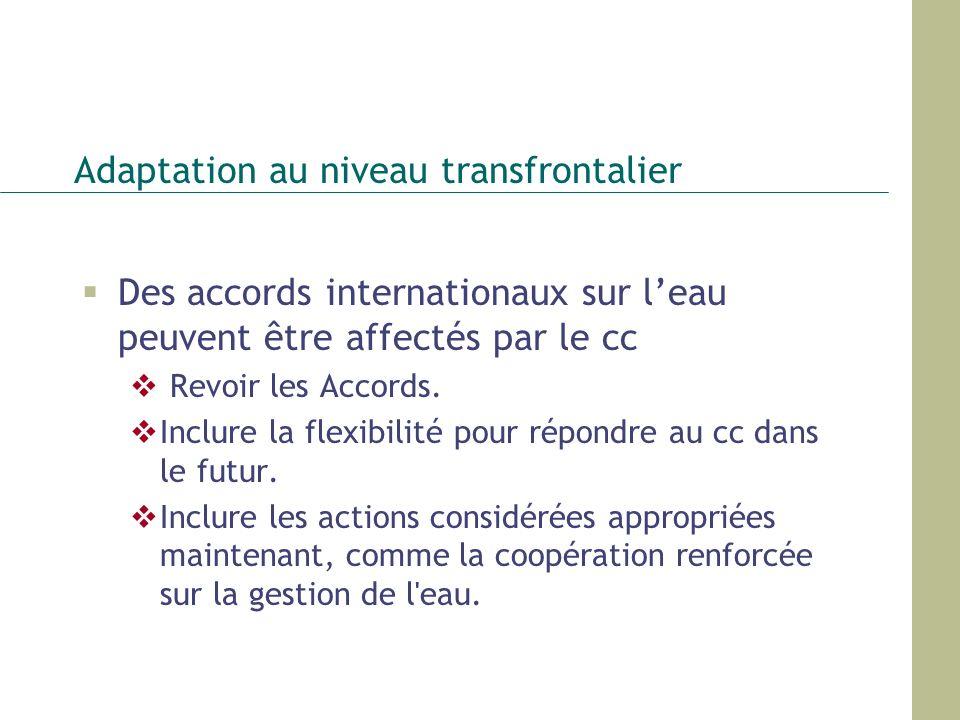 Adaptation au niveau transfrontalier Des accords internationaux sur leau peuvent être affectés par le cc Revoir les Accords. Inclure la flexibilité po