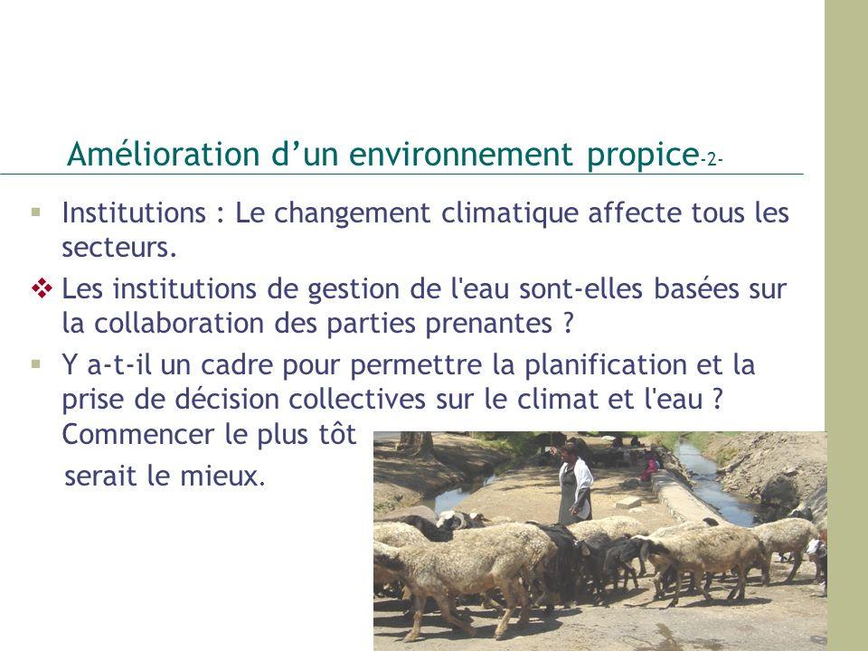 Amélioration dun environnement propice -2- Institutions : Le changement climatique affecte tous les secteurs. Les institutions de gestion de l'eau son