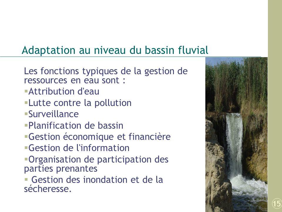 Adaptation au niveau du bassin fluvial Les fonctions typiques de la gestion de ressources en eau sont : Attribution d'eau Lutte contre la pollution Su