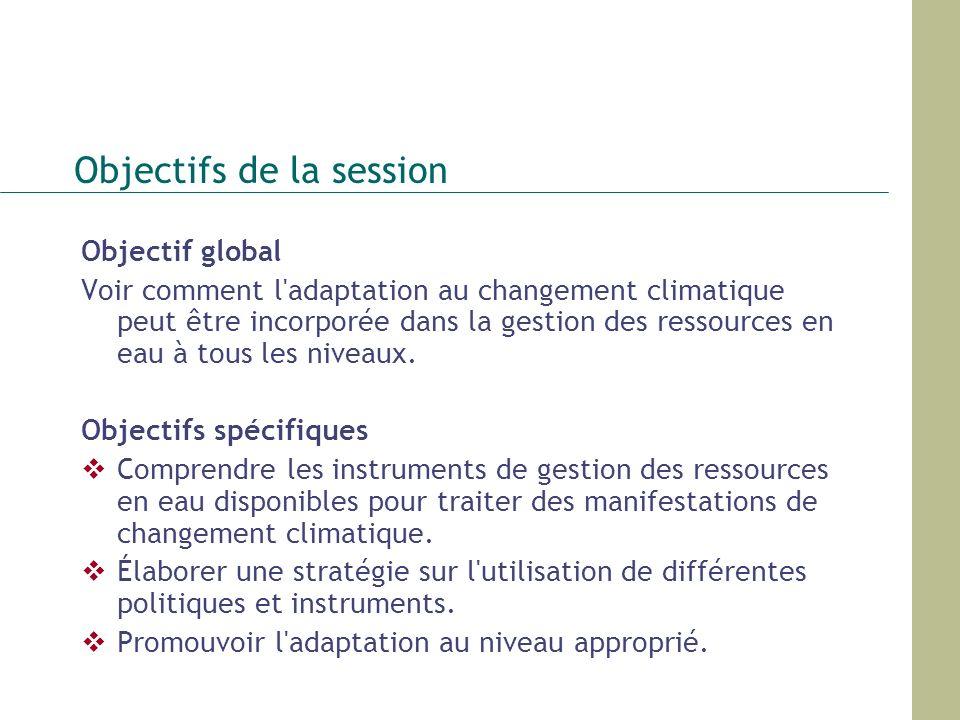 Objectifs de la session Objectif global Voir comment l'adaptation au changement climatique peut être incorporée dans la gestion des ressources en eau