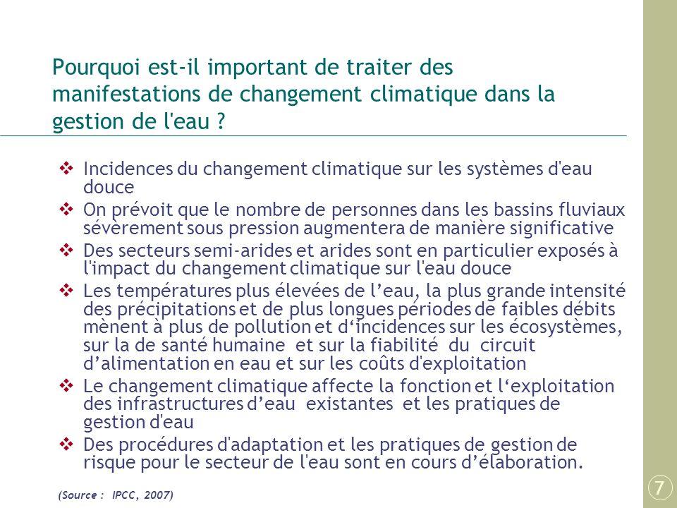 Pourquoi est-il important de traiter des manifestations de changement climatique dans la gestion de l'eau ? Incidences du changement climatique sur le
