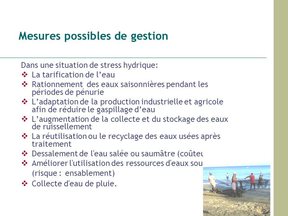 Mesures possibles de gestion Dans une situation de stress hydrique: La tarification de leau Rationnement des eaux saisonnières pendant les périodes de