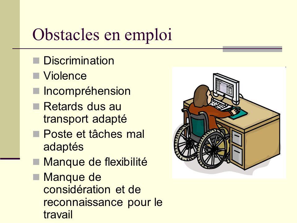 Obstacles en emploi Discrimination Violence Incompréhension Retards dus au transport adapté Poste et tâches mal adaptés Manque de flexibilité Manque d