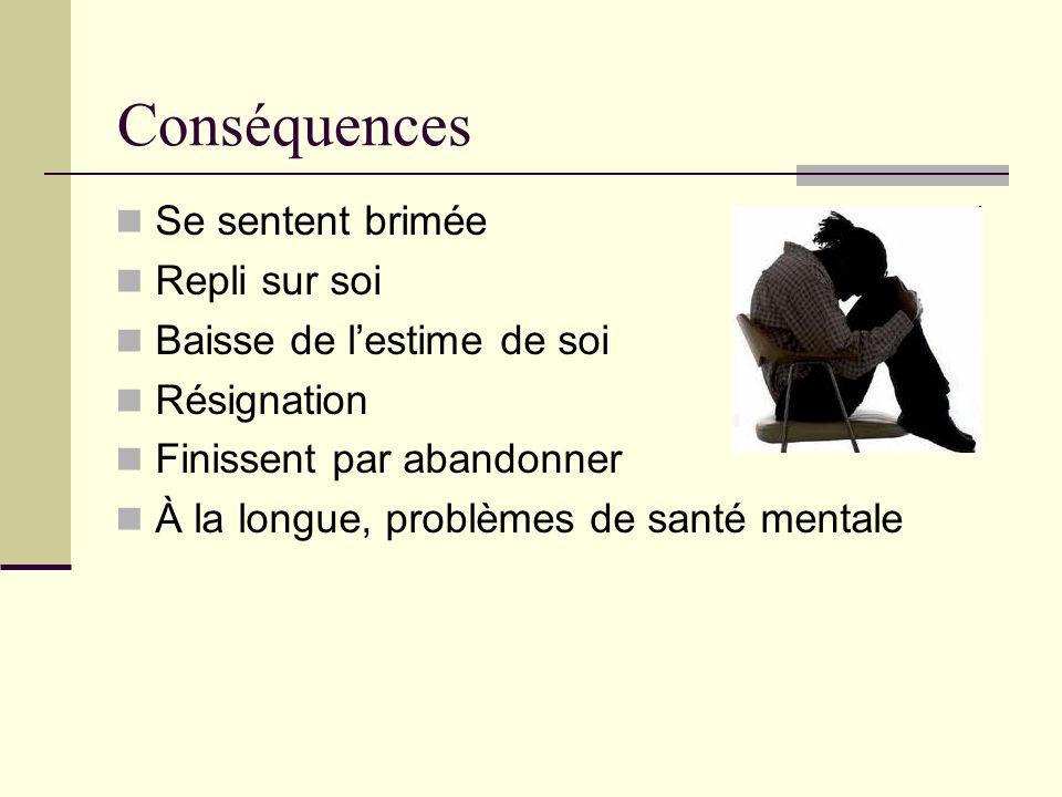 Conséquences Se sentent brimée Repli sur soi Baisse de lestime de soi Résignation Finissent par abandonner À la longue, problèmes de santé mentale