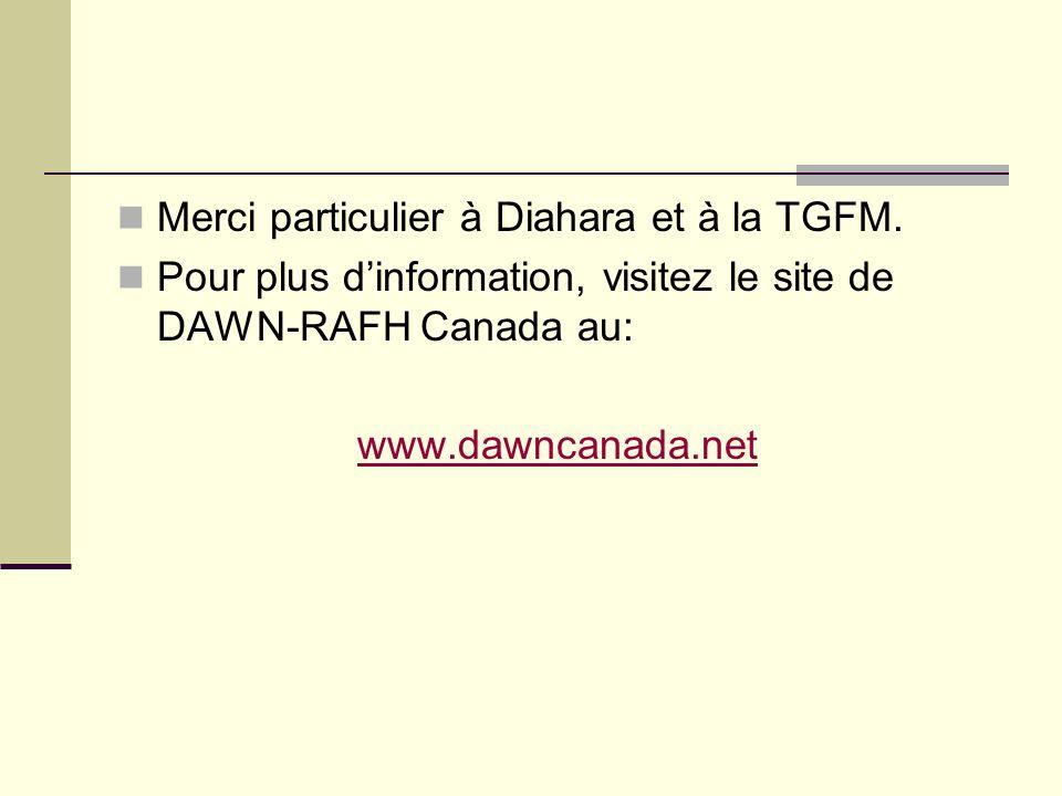 Merci particulier à Diahara et à la TGFM. Pour plus dinformation, visitez le site de DAWN-RAFH Canada au: www.dawncanada.net