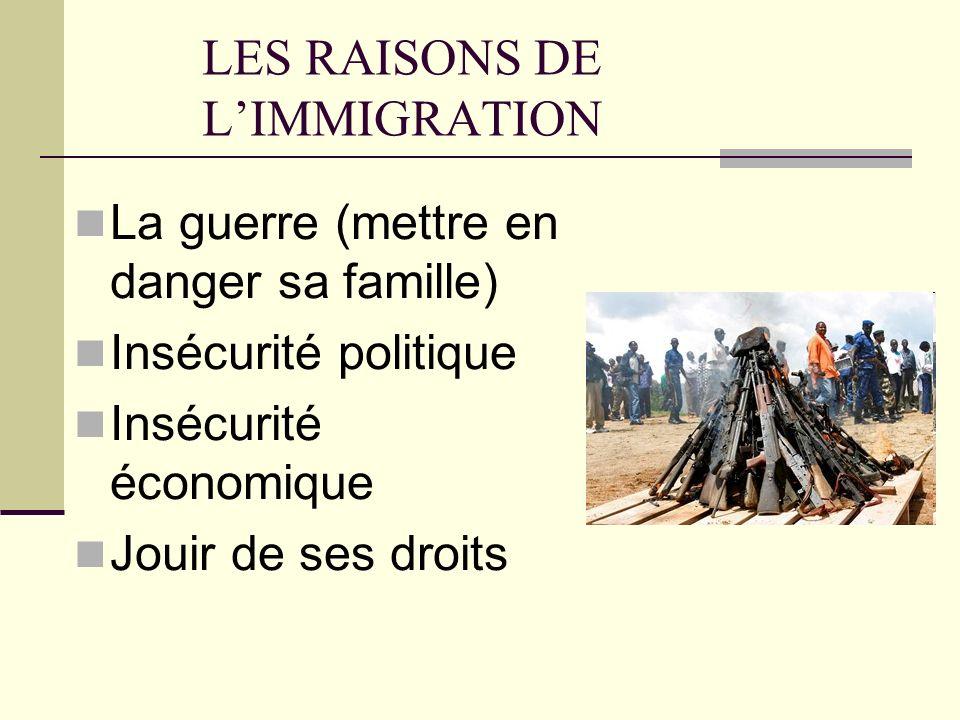 LES RAISONS DE LIMMIGRATION La guerre (mettre en danger sa famille) Insécurité politique Insécurité économique Jouir de ses droits