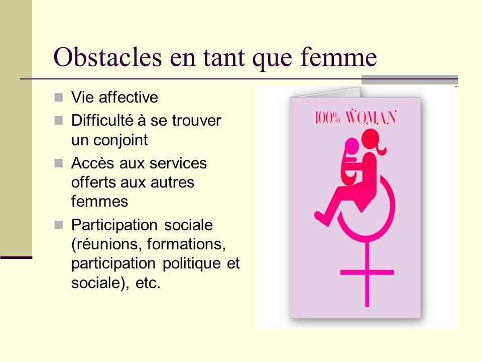 Obstacles en tant que femme (suite) Accès au travail Accès aux services de Santé : Équipements structure et logistique tiennent pas compte du handicap.