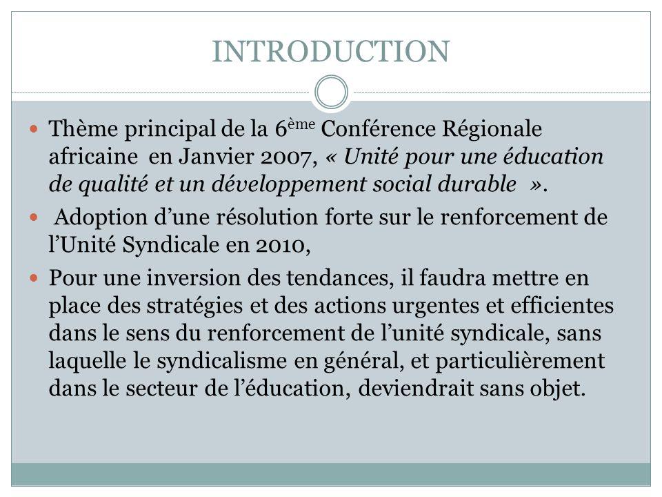 INTRODUCTION Thème principal de la 6 ème Conférence Régionale africaine en Janvier 2007, « Unité pour une éducation de qualité et un développement soc