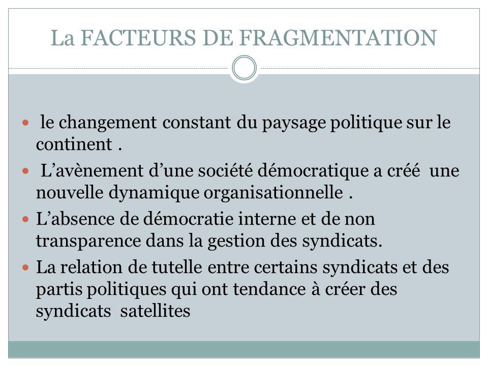 La FACTEURS DE FRAGMENTATION le changement constant du paysage politique sur le continent. Lavènement dune société démocratique a créé une nouvelle dy