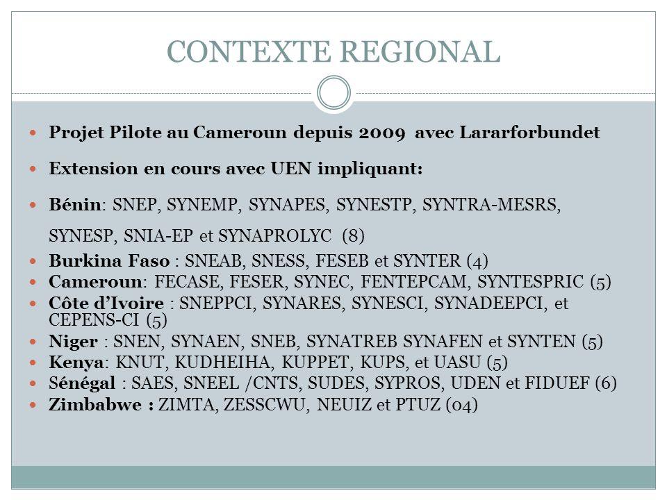 CONTEXTE REGIONAL Projet Pilote au Cameroun depuis 2009 avec Lararforbundet Extension en cours avec UEN impliquant: Bénin: SNEP, SYNEMP, SYNAPES, SYNE
