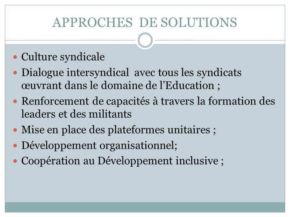 APPROCHES DE SOLUTIONS Culture syndicale Dialogue intersyndical avec tous les syndicats œuvrant dans le domaine de lEducation ; Renforcement de capaci