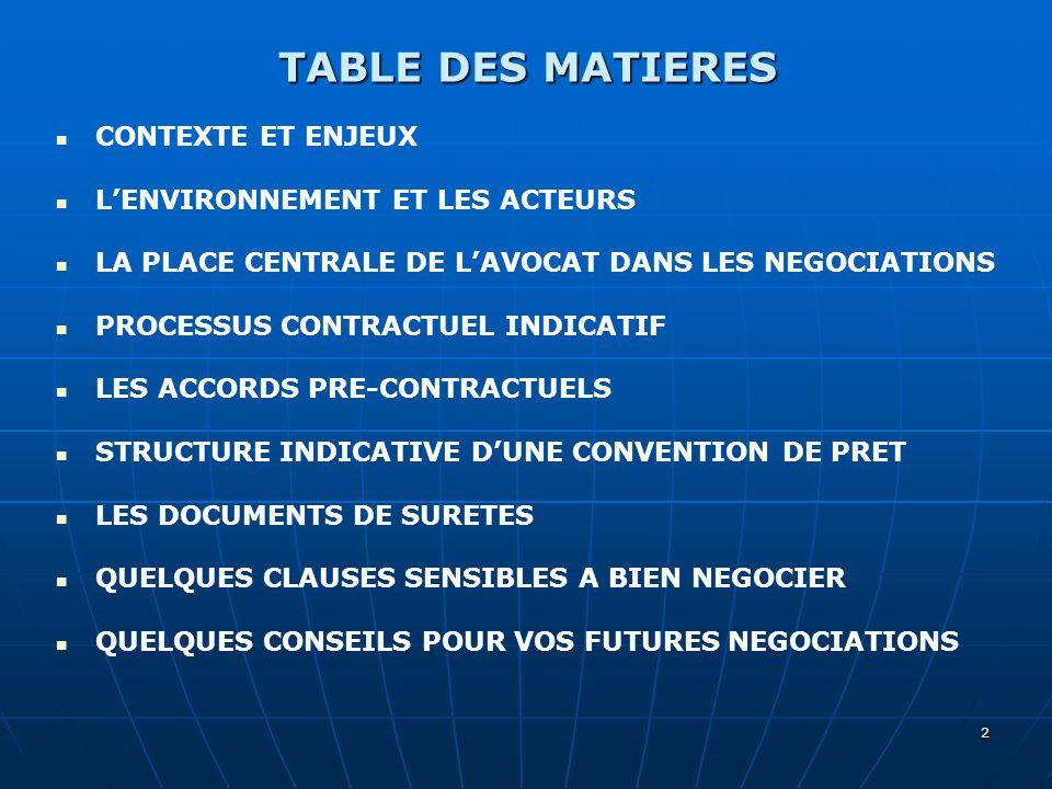 2 TABLE DES MATIERES CONTEXTE ET ENJEUX LENVIRONNEMENT ET LES ACTEURS LA PLACE CENTRALE DE LAVOCAT DANS LES NEGOCIATIONS PROCESSUS CONTRACTUEL INDICAT