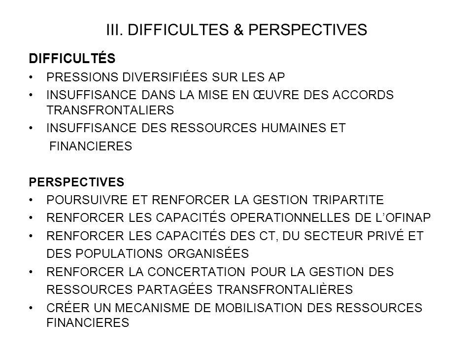 III. DIFFICULTES & PERSPECTIVES DIFFICULTÉS PRESSIONS DIVERSIFIÉES SUR LES AP INSUFFISANCE DANS LA MISE EN ŒUVRE DES ACCORDS TRANSFRONTALIERS INSUFFIS