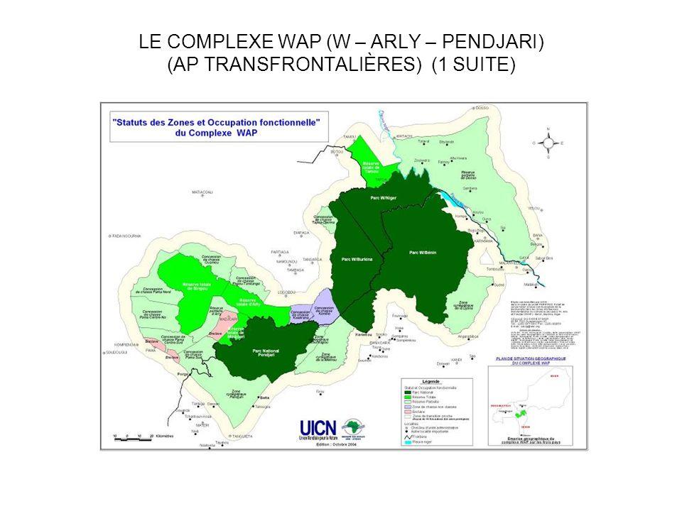 LE COMPEXE WAP (1 SUITE) SUPERFICIE CLASSÉÉE : 31 000 KM2 ZONE CLASSEE + ZONES ADJACENTES: 50 000 KM2 BENIN : 43% BURKINA FASO : 36% NIGER : 21% VASTE ETENDUE DECOSYSTEMES : TERRESTRES, SEMI-AQUATIQUES ET AQUATIQUES (FORÊTS ARBOREES CLAIRES, F.